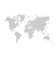 spain map is highlighted in blue on world map vector image