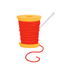 Spool of bright red threads and silver needle vector