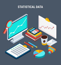 Statistical data isometric design concept vector