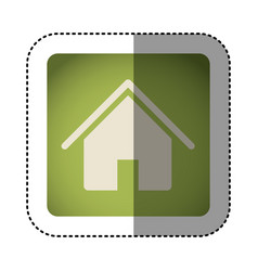 sticker color square with house icon vector image