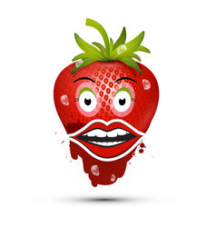 strawberry with eyes and mouth funky dessert vector image