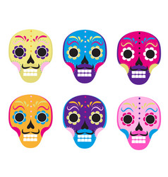 sugar skull set icon flat cartoon style cute vector image
