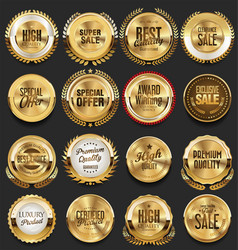 super glossy collection of golden retro vintage vector image
