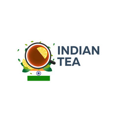 Tea time cup of tea with lemon indian tea vector