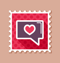 Text bubble with heart stamp happy valentines day vector