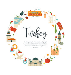 Tourist poster with famous landmarks turkey vector