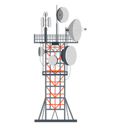 Tower with dishes internet or tv signals system vector
