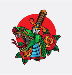 traditional snake head tattoo vector image