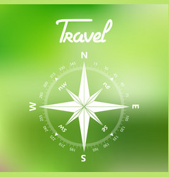 travel compass symbol on a green background vector image