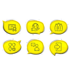 Users chat balloon dart and login icons set vector