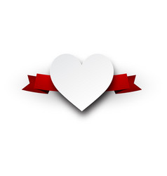 valentine s heart with red ribbon vector image