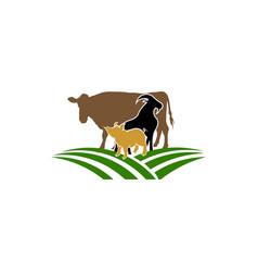 vintage group of animal farm vector image