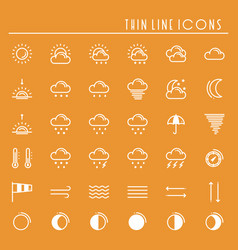 Weather pack line icons set meteorology weather vector