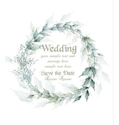 Wedding card watercolor green leaves wreath vector