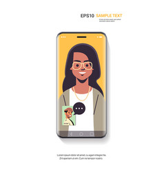 woman takling through video call with man on vector image