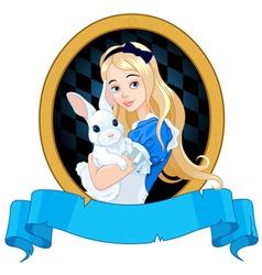 Alice with white rabbit vector