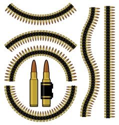 Bullet and machinegun cartridge belt vector