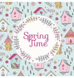 Cute Bird House Card - Spring Time vector image vector image