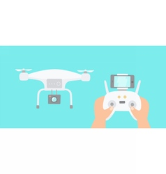 Hands holding drones controller vector image