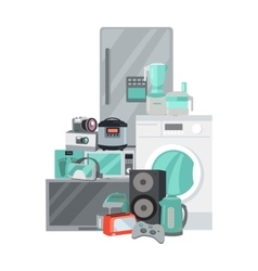 Sale discount household appliances in flat style vector