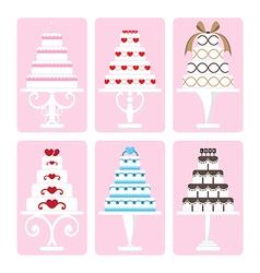 set of wedding cake vector image vector image