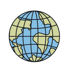 Colorful silhouette front view globe earth world vector