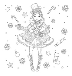 cute fairy girl in flowers doodle vector image