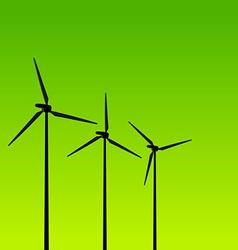 eco energy turbines on green vector image