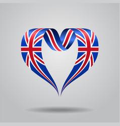 great britain flag heart-shaped ribbon vector image