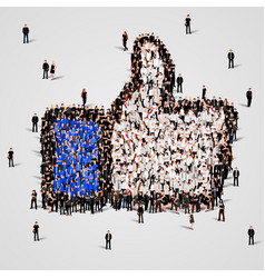 large group of people in the like sign shape vector image