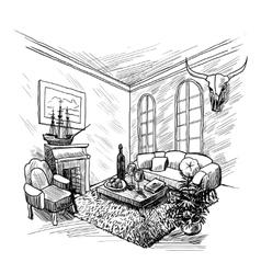 Room Sketch Background vector image