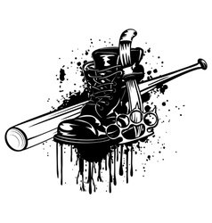 bat boot knife and knuckleduster vector image vector image