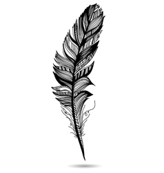 Monochrome feather isolate With white background vector image vector image