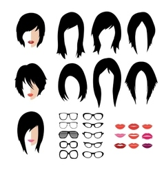 set of woman hipster style haircut glasses vector image vector image