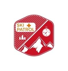 Ski patrol label vintage mountain winter sports vector
