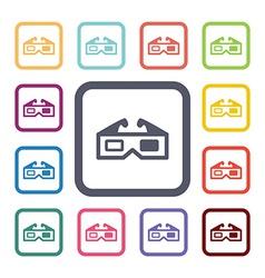 3d cinema flat icons set vector image