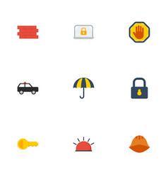 flat icons padlock clue parasol and other vector image
