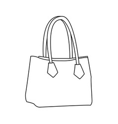 handbag elegant fashion female outline vector image