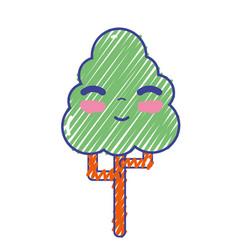 kawaii cute happy tree ecology vector image vector image