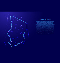 map chad from the contours network blue luminous vector image vector image