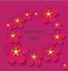 paper flowers claret frame vector image