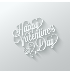 valentines day vintage lettering cut paper vector image