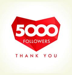 5000 followers thank you heart vector