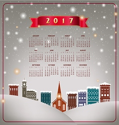 A 2017 quaint Christmas village calendar vector