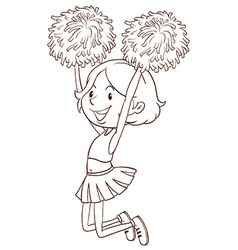 A simple sketch of a girl cheerdancing vector image