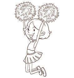 A simple sketch of a girl cheerdancing vector