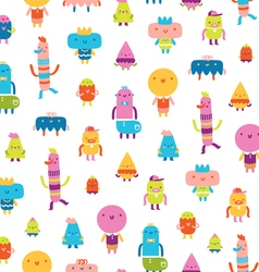 Abstract characters seamless pattern on white vector image vector image