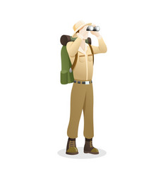 an explorer using binocular vector image