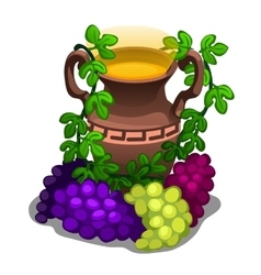 Ancient greek amphora with grape wine vector image