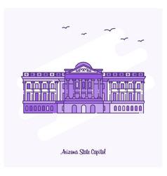 arizona state capitol landmark purple dotted line vector image